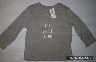 original old navy long sleeves gray 12 to 18 months