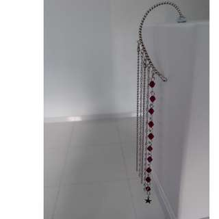 Silver and Ruby 80s Disco Earcuff