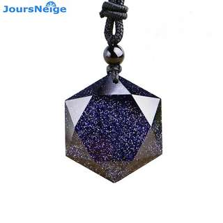 Wholesale Genuine Blue Sand Natural Stone Pendants Six Stars Pendant Energy Stone Sweater Chain Necklace Lovers Fashion Jewelry