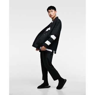 🚚 (NEW) ZARA 浴衣 Noragi 亞麻和服式外套 黑色 S號