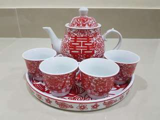 Double happiness teapot set