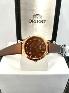 * FREE DELIVERY * Brand New 100% Authentic Orient Ladies Automatic Sapphire Glass Dress Watch with Crystal Elements in Rose Gold Case & Chocolate Brown Dial ER2H002T