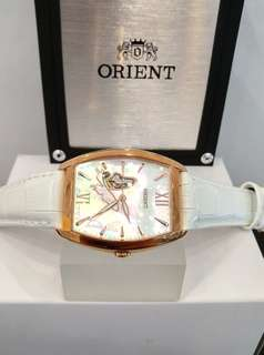 * FREE DELIVERY * Brand New 100% Authentic Orient Ladies Automatic Dress Watch Rose Gold Case , Pearl Dial & Open Heart Design DBAE002W