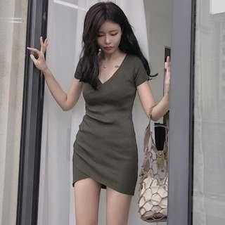 自留款❤性感氣質交叉不規則斜邊彈性螺紋針織V領短袖連身裙 包臀裙 針織裙 短袖洋裝