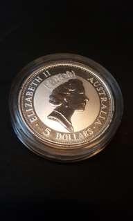 1991 $5 Australian Kookaburra silver coin.