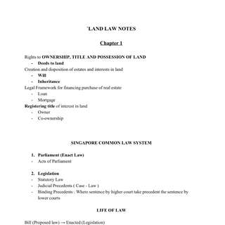 NUS RE2105 / RE2702 Land Law Notes