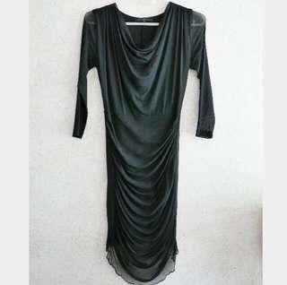Black Dress with Sheer Sleeves