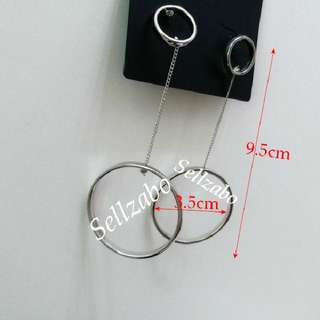 Round Silver Ring Earrings Big Dangling Studded Ears Accessories Ladies Girls Women Female Lady