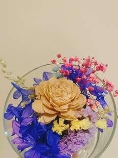 🚚 *木玫瑰擴香款*乾燥花.禮物.擺飾/玻璃罩/玻璃盅