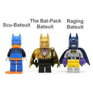 🚚 [Unicque] The Lego Batman Movie Minifigure - Bat-Pack, Raging, Scu-Batsuit #caroupay