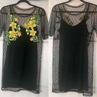 Black Mesh Floral dress with Black Slip Size 12