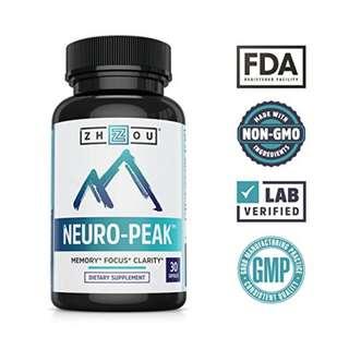 [IN-STOCK] Neuro Peak Brain Support Supplement - Memory, Focus & Clarity Formula - Nootropic Scientifically Formulated for Optimal Performance - DMAE, Rhodiola Rosea, Bacopa Monnieri, Ginkgo Biloba & More - Zhou Nutrition