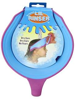 Lil rinser splash guard in blue and pink
