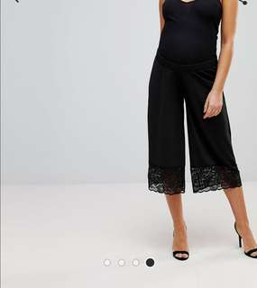 UK8 > ASOS MATERNITY Culotte Trousers in Crepe with Lace Trim