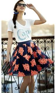 MAEVE Anthropologie Navy and Coral Embroidered Tulle Skirt - Sz 4