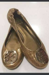 Authentic Tory Burch Metallic Flats