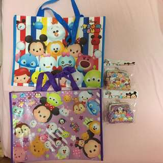 All For $8 - BN Tsum Tsum x2 metal coin purses & x2 reusable bag