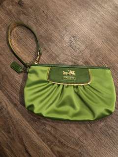 Authentic Coach green and gold wristlet brand new
