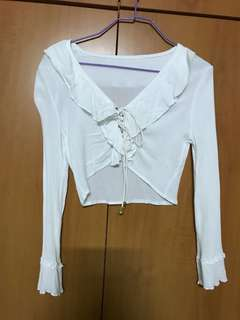 White Lace Up TOP deep v neck with frills