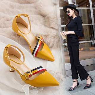 Word buckle black high heels female fine with Korean girls wild pointed hollow shoes