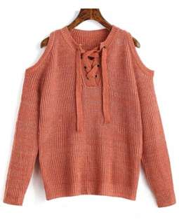 Lace Up Cold Shoulder Knitted Sweater (Orange Pink)