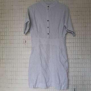 韓國微立領條紋洋裝