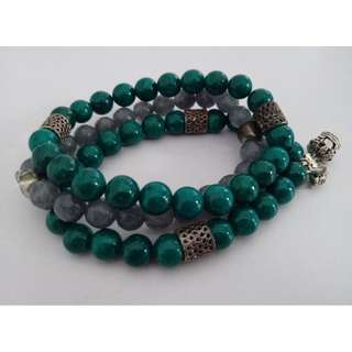 Green & Grey Stackable Bracelets