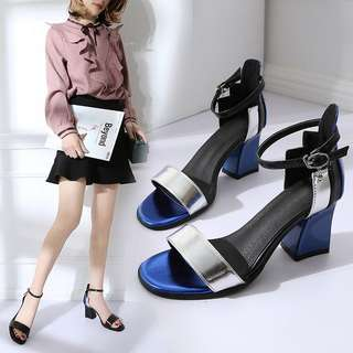 Korean version of the open toe thick with wild spell color buckle high heels