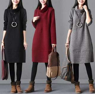 Winter Dress in 3 colours / UP TO 2XL