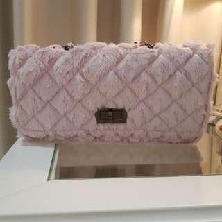 Korean Baby Pink fur bag