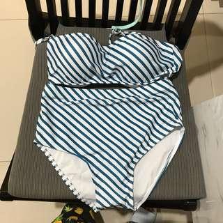Blue stripes bikini