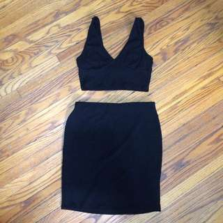 F21 crop top & skirt
