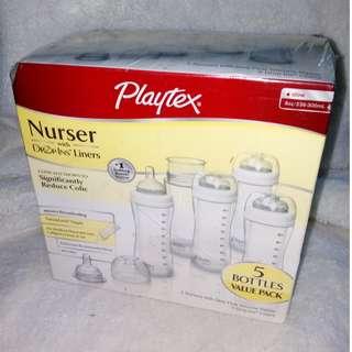 Playtex Nurser Baby Feeding Bottle with Drop-Ins Liners 8-10 oz
