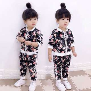 Girls sportswear cardigan + pants two sets of 1-2-3-4-5 years old