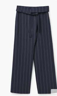 Mango Linen Striped Pants