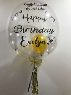 Happy birthday balloon, customized balloon, bubble balloon, birthday party, personalized balloon