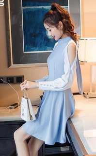 Open-sleeved Baby Blue Dress