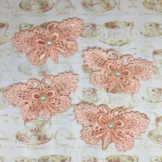 4pcs Peachy Pink Butterfly Applique