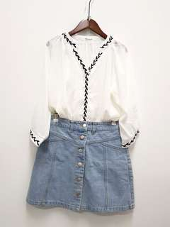 White Chiffon Top with Denim Skirt #20under
