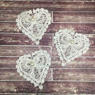 3pcs White Heart Applique