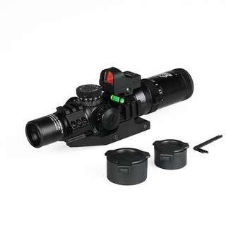 One set Tactical 1-4x24 IRF rifle scope + 1x Mini red dot scope + Scope level bubble + Scope mount