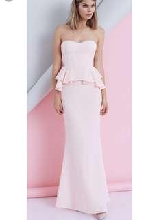 Sheike (Australia) - Size 8; Maxi Peplum Dress in PALE PINK