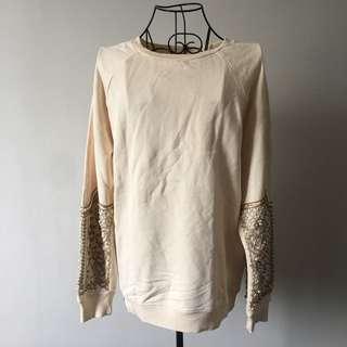 Zara Cream Embriodered Sweat shirt