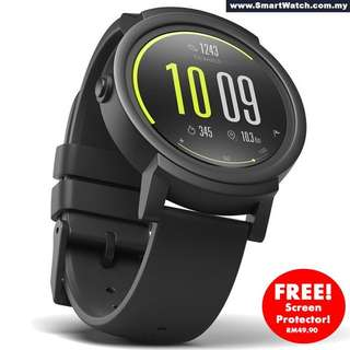 Ticwatch E Shadow, most comfortable Smartwatch Shadow, 1.4 inch OLED Display, Android Wear 2.0, Compatible with iOS and Android, Google Assistant