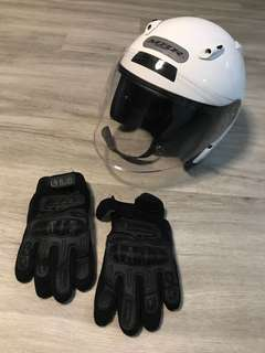 Motorcycle helmet (with bag) and motorcycle gloves