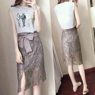 Korean Terno (Top+Lace Skirt)