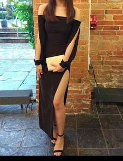 Evening gown with a thigh high slit