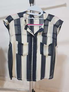 Forever 21 Striped Beige Navy Blue Translucent Casual Top