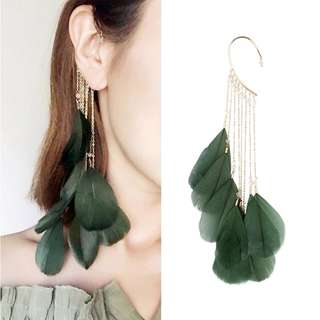 Retro feather tassel ear hook