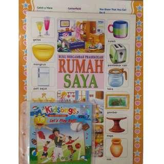 Buku Bergambar Prasekolah Rumah Saya + Kidsongs Let's Play Ball Vol.7 VCD